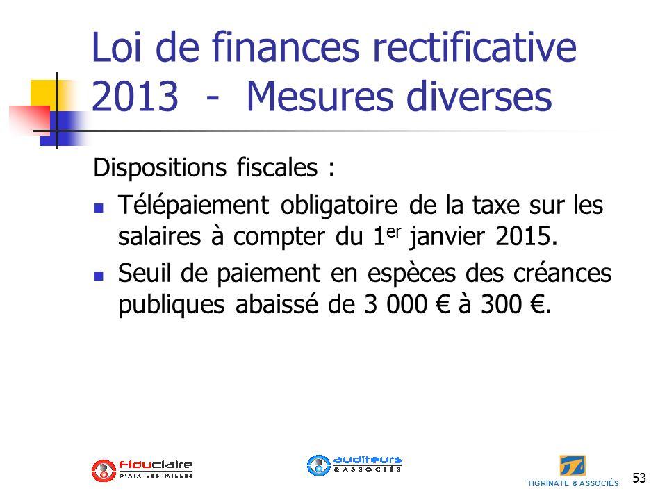 Loi de finances rectificative 2013 - Mesures diverses