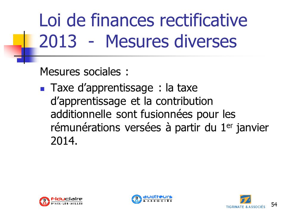 Loi de finances rectificative 2013 - Mesures diverses