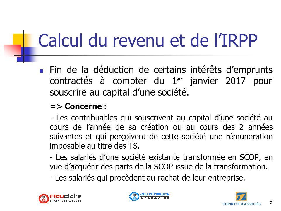 Calcul du revenu et de l'IRPP