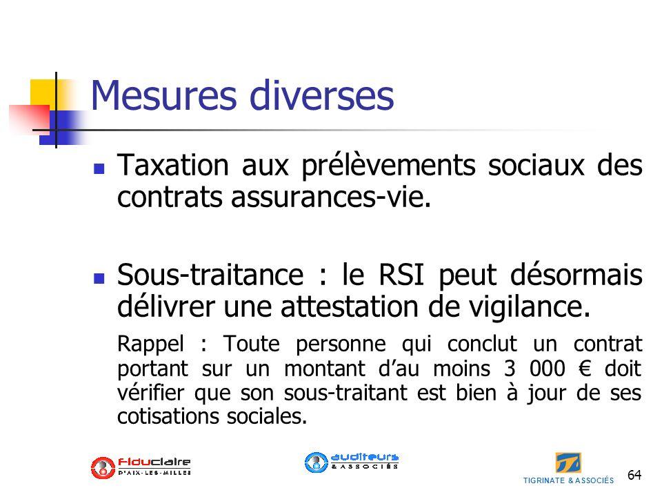 Mesures diverses Taxation aux prélèvements sociaux des contrats assurances-vie.