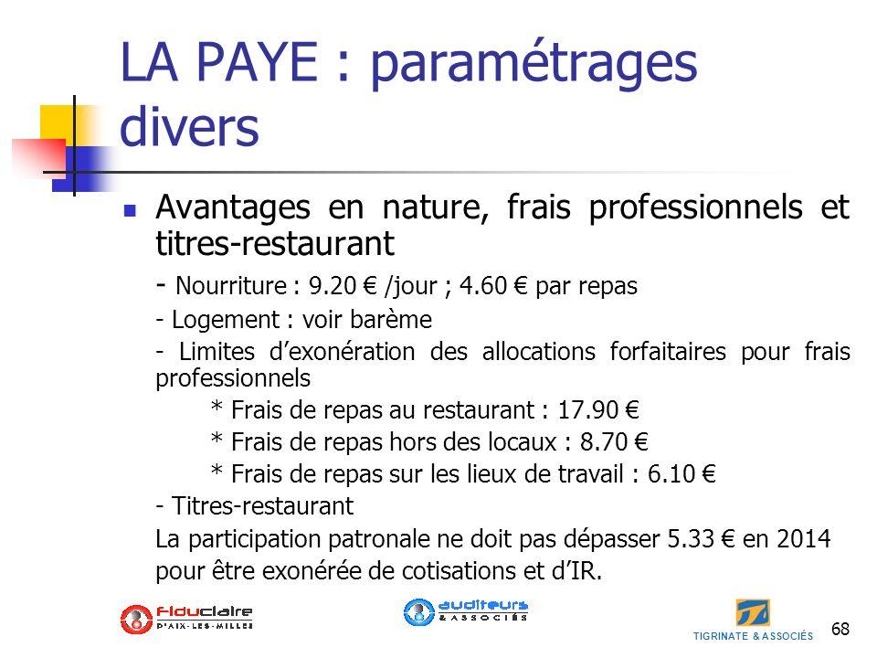 LA PAYE : paramétrages divers