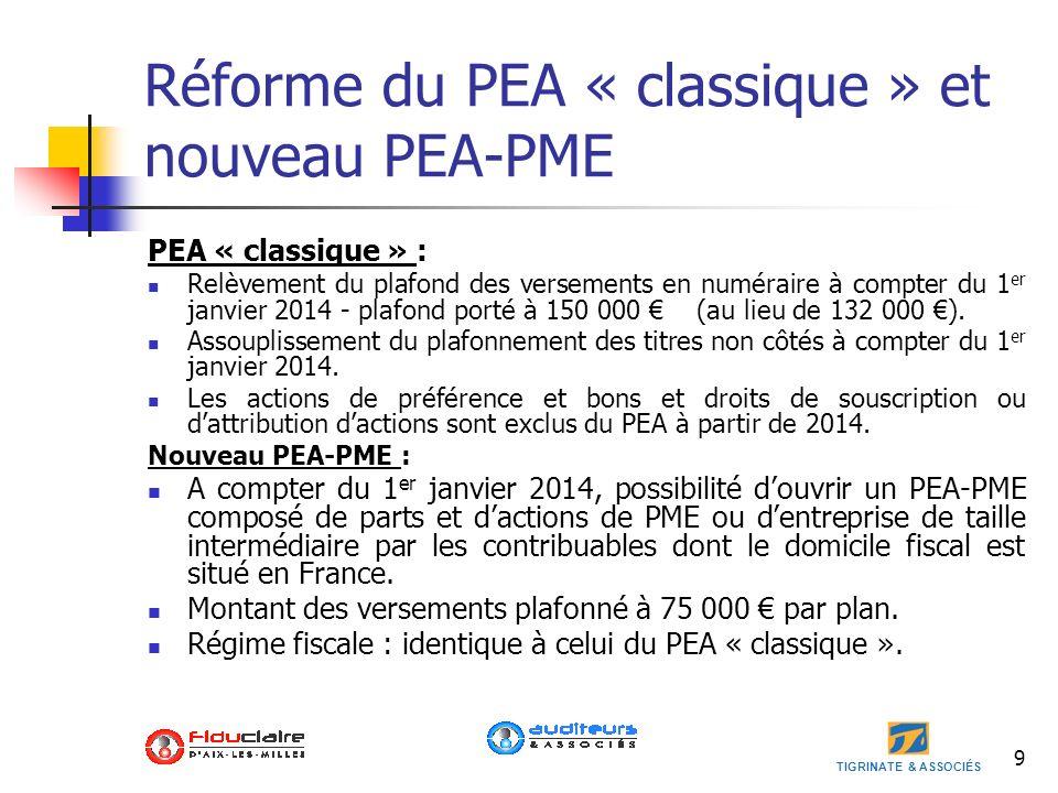 Réforme du PEA « classique » et nouveau PEA-PME