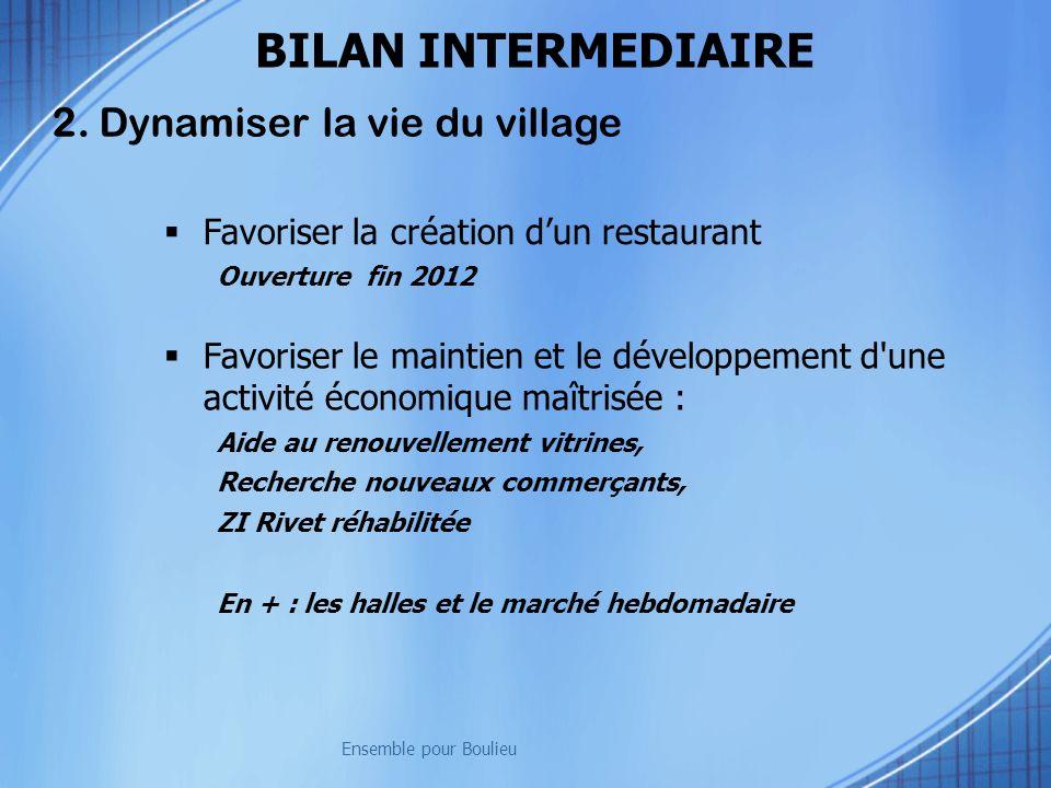 BILAN INTERMEDIAIRE 2. Dynamiser la vie du village