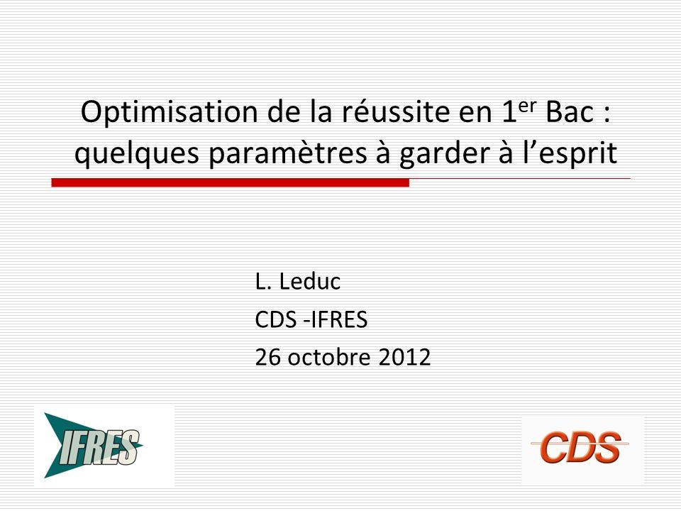 L. Leduc CDS -IFRES 26 octobre 2012
