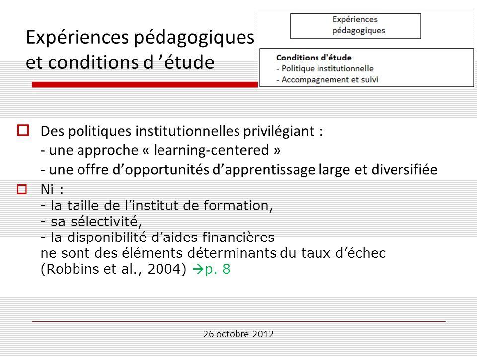 Expériences pédagogiques et conditions d 'étude