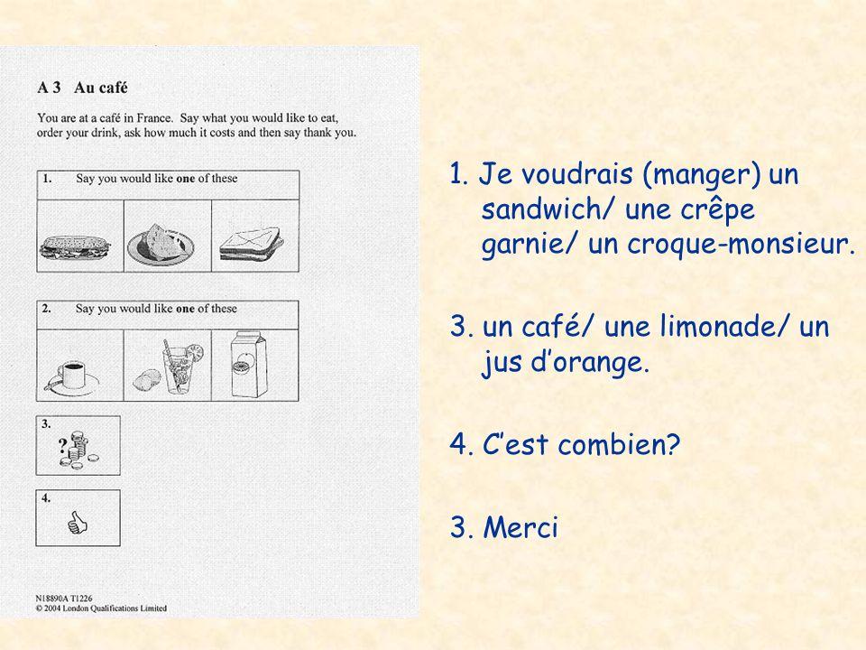 1. Je voudrais (manger) un sandwich/ une crêpe garnie/ un croque-monsieur.