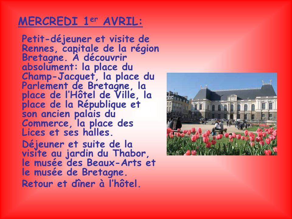 MERCREDI 1er AVRIL: