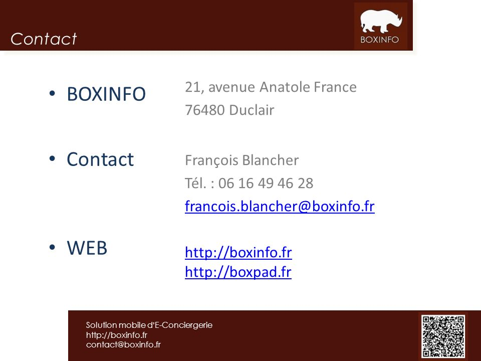 BOXINFO Contact WEB Contact