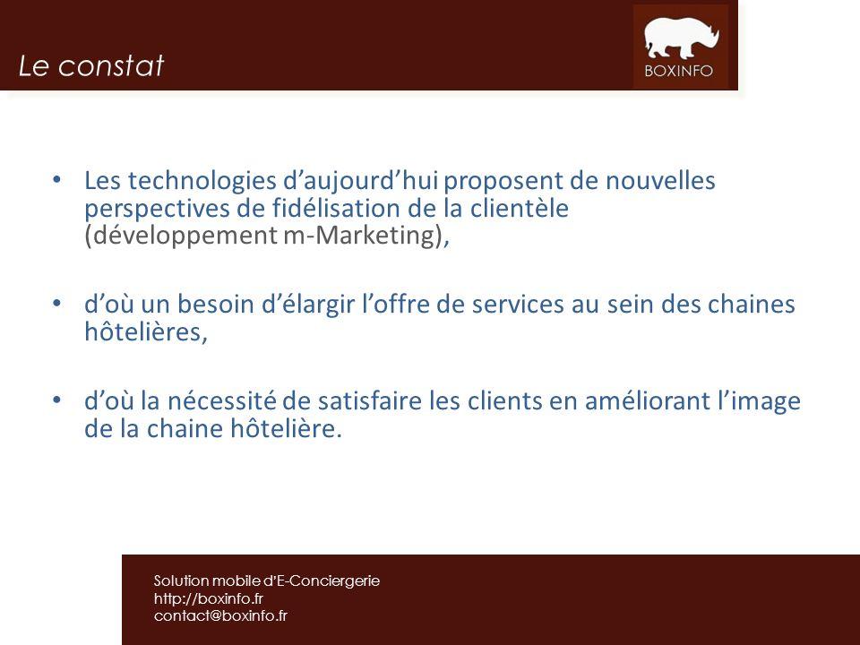 Le constat Les technologies d'aujourd'hui proposent de nouvelles perspectives de fidélisation de la clientèle (développement m-Marketing),