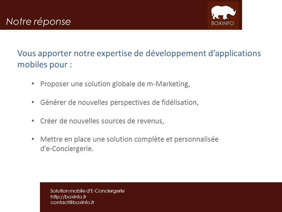 Notre réponse Vous apporter notre expertise de développement d'applications mobiles pour : Proposer une solution globale de m-Marketing,