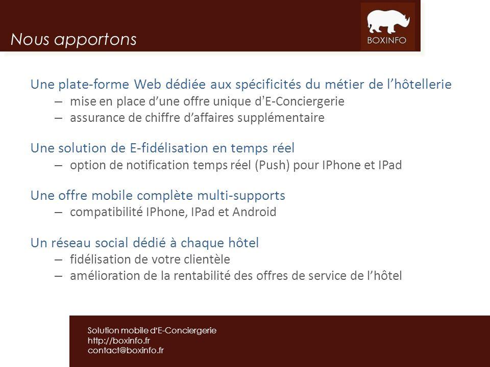 Nous apportons Une plate-forme Web dédiée aux spécificités du métier de l'hôtellerie. mise en place d'une offre unique d'E-Conciergerie.