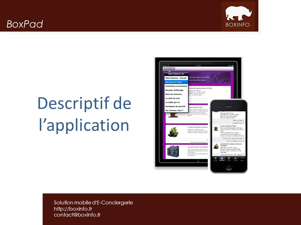 Descriptif de l'application