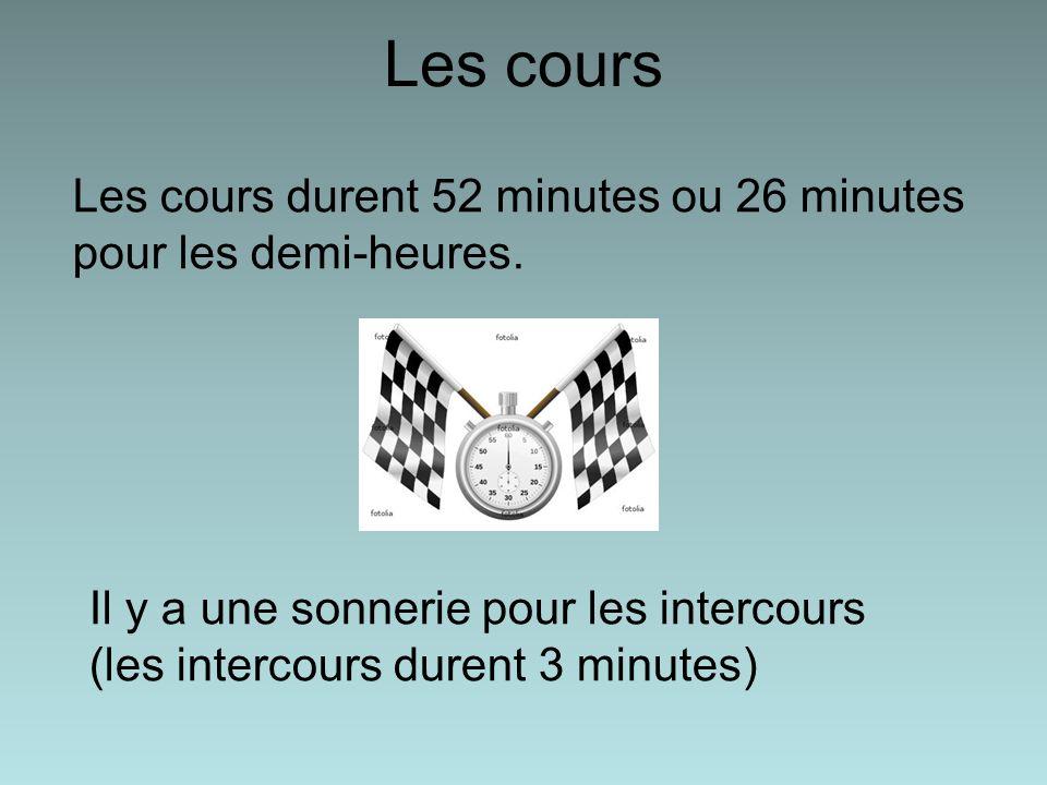 Les cours Les cours durent 52 minutes ou 26 minutes pour les demi-heures.