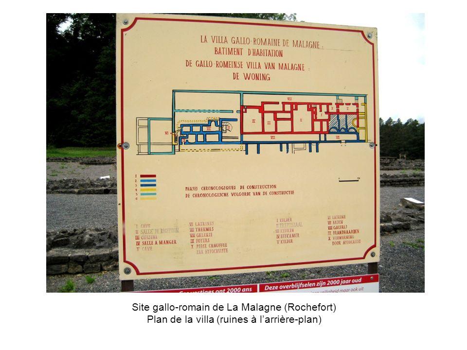 Site gallo-romain de La Malagne (Rochefort) Plan de la villa (ruines à l'arrière-plan)
