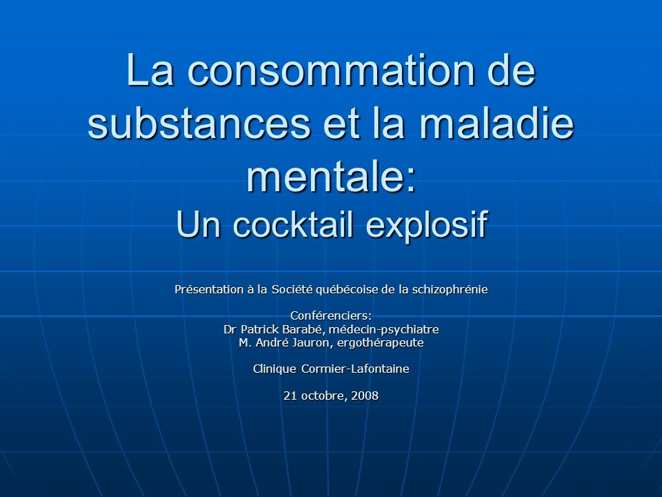 La consommation de substances et la maladie mentale: Un cocktail explosif