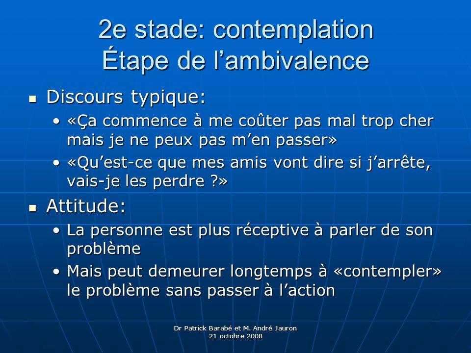 2e stade: contemplation Étape de l'ambivalence