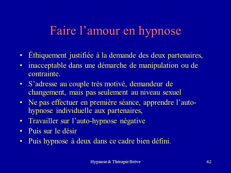 Faire l'amour en hypnose