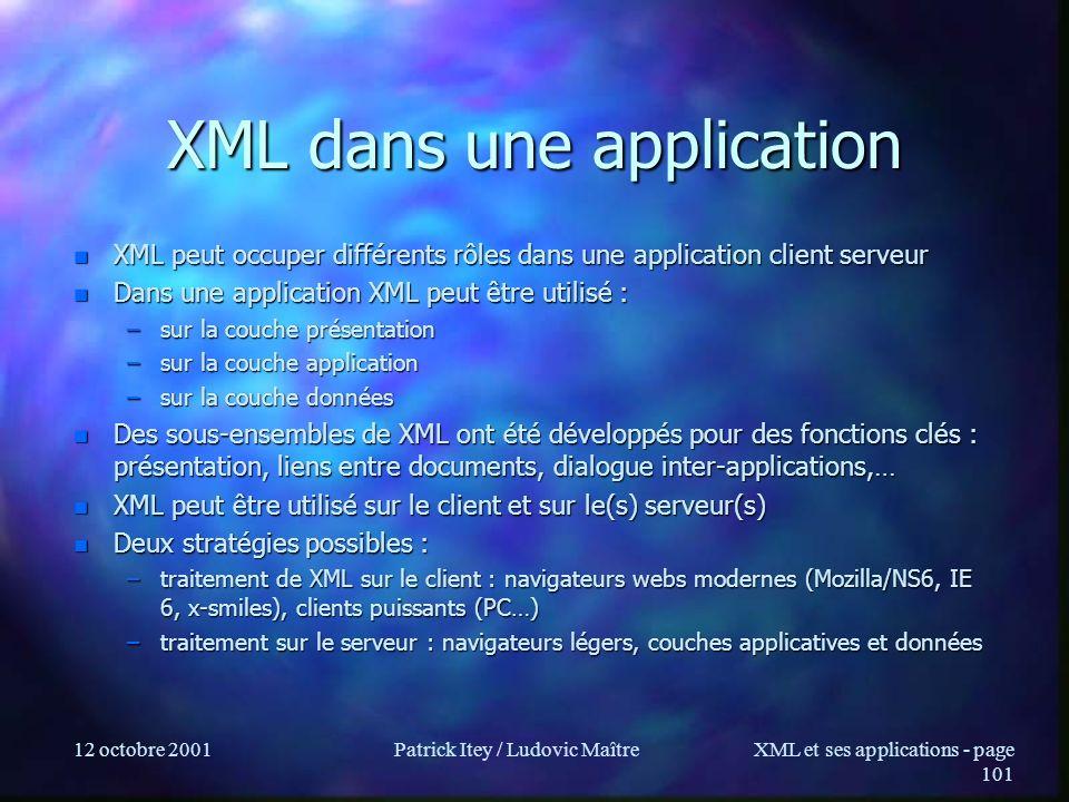 XML dans une application