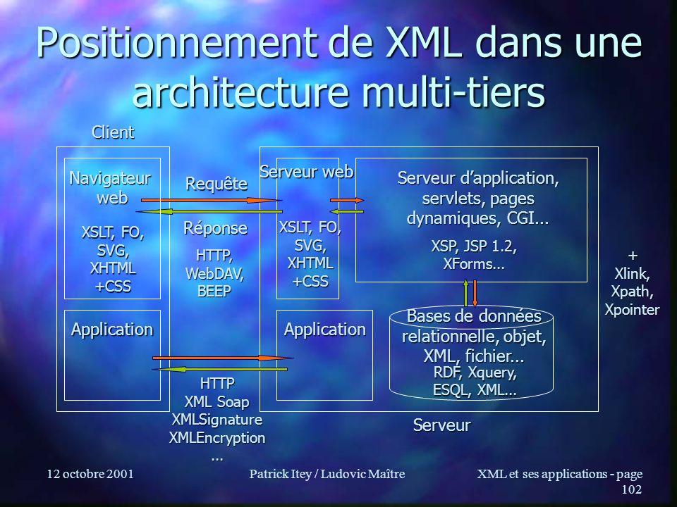 Positionnement de XML dans une architecture multi-tiers