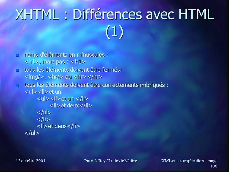 XHTML : Différences avec HTML (1)