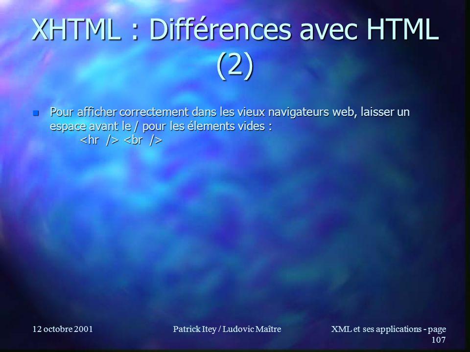 XHTML : Différences avec HTML (2)