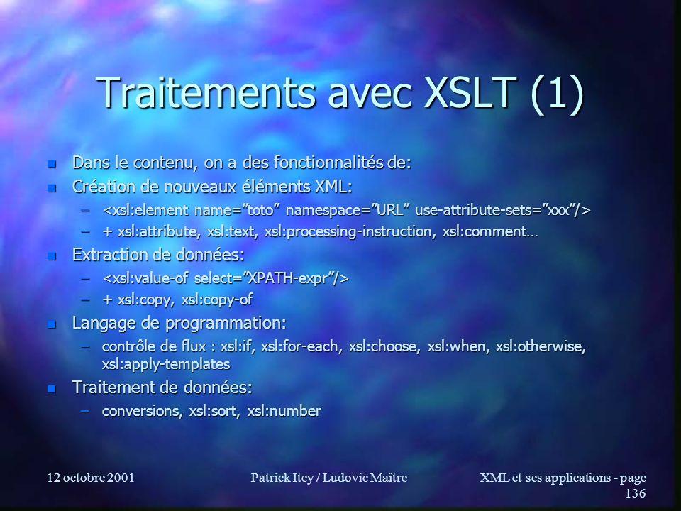 Traitements avec XSLT (1)