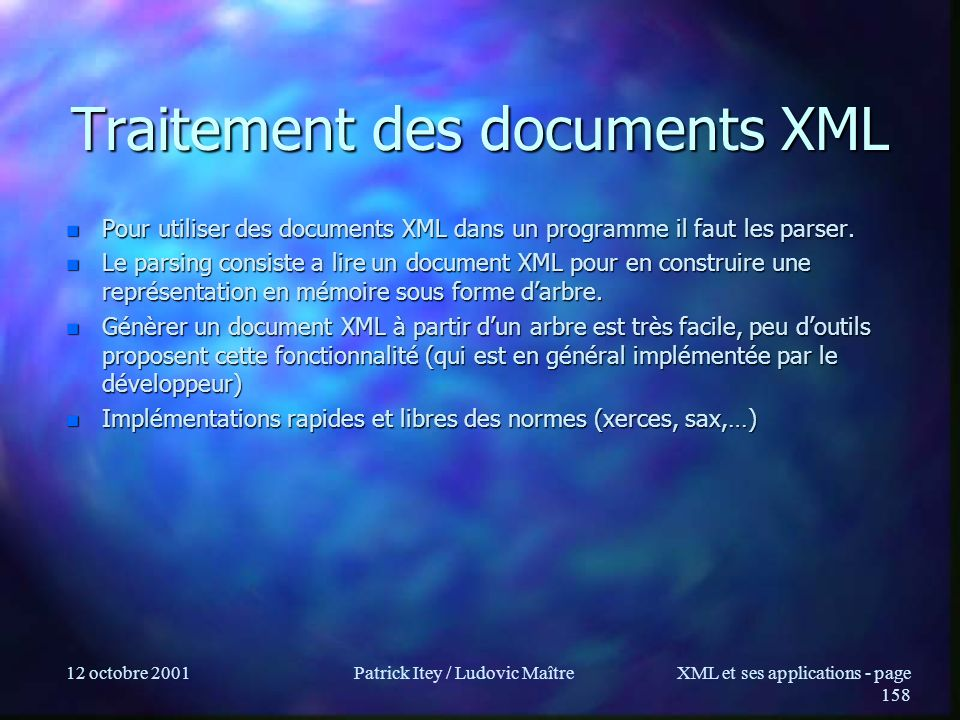 Traitement des documents XML