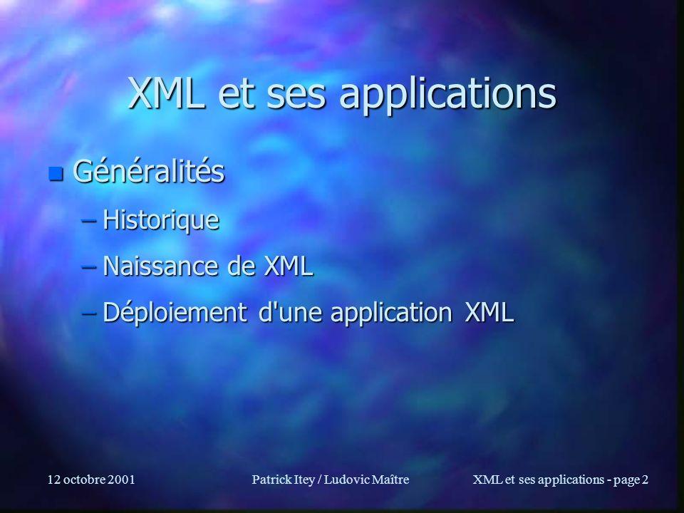 XML et ses applications
