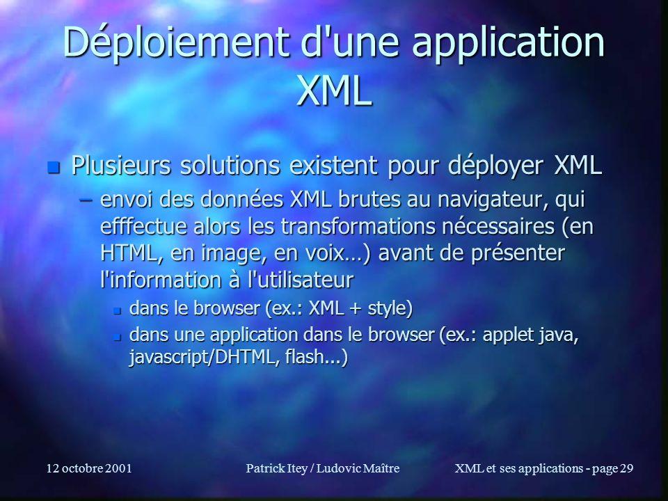 Déploiement d une application XML