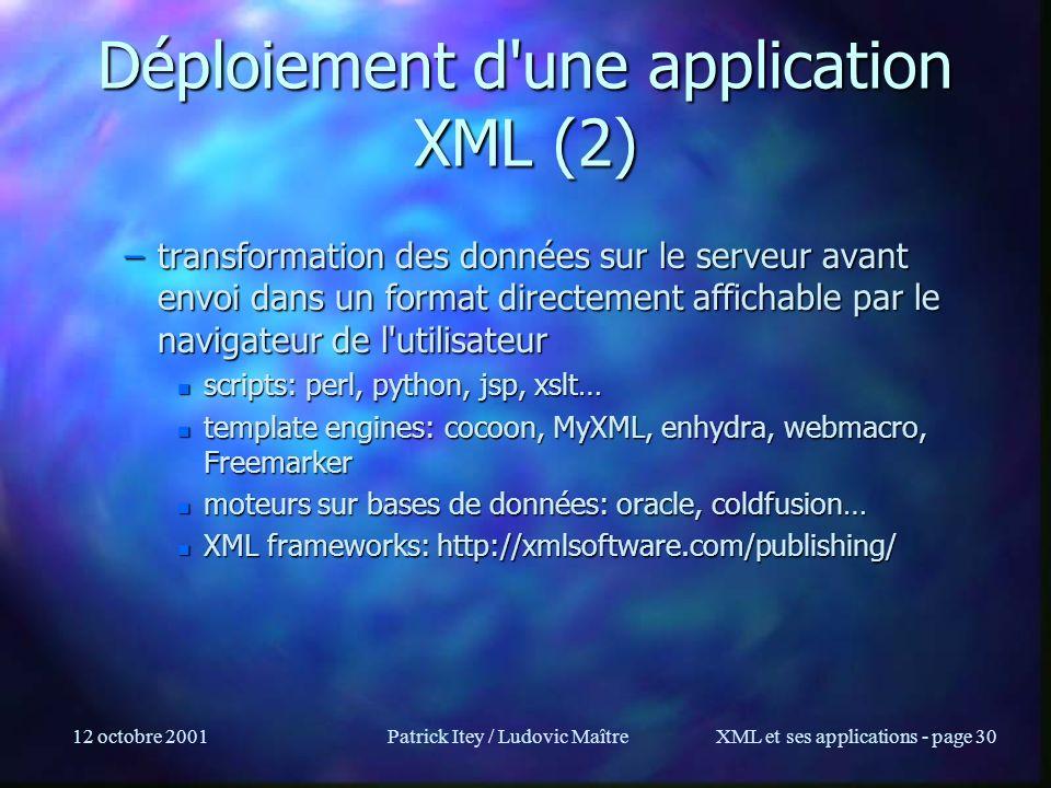 Déploiement d une application XML (2)