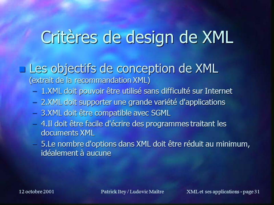 Critères de design de XML