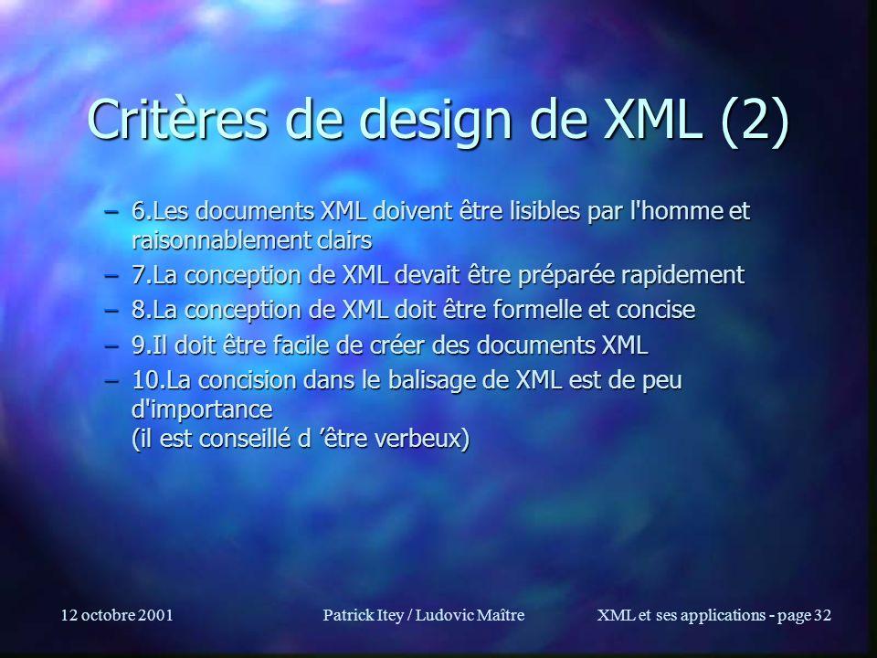 Critères de design de XML (2)