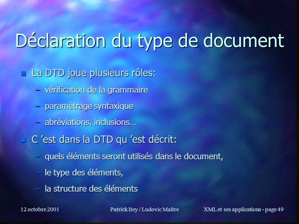 Déclaration du type de document
