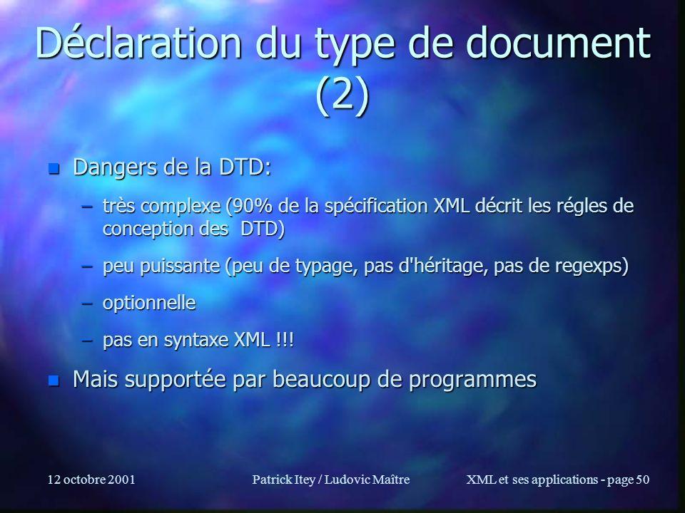 Déclaration du type de document (2)