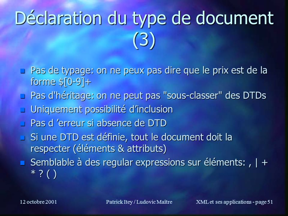 Déclaration du type de document (3)