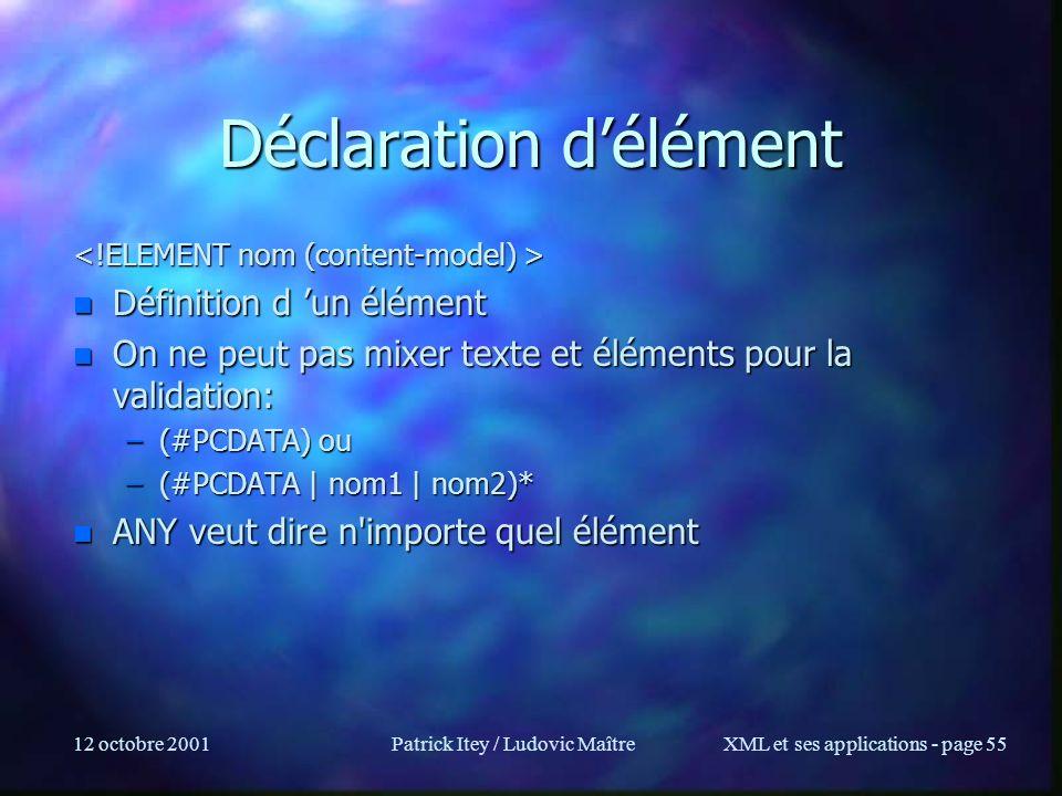 Déclaration d'élément