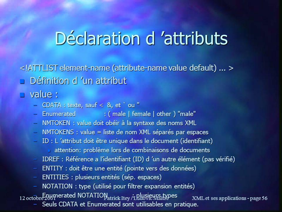 Déclaration d 'attributs