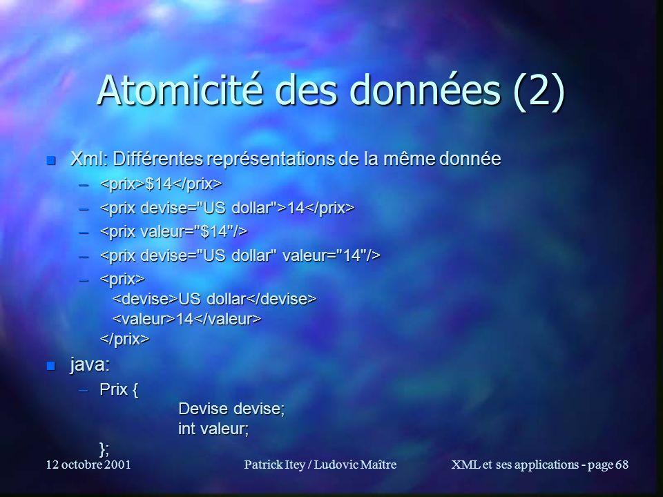 Atomicité des données (2)