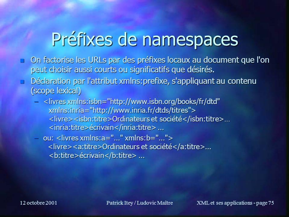 Préfixes de namespaces