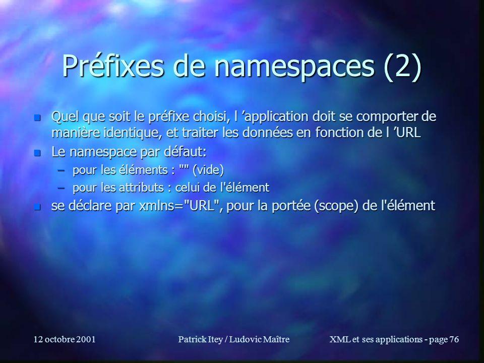 Préfixes de namespaces (2)