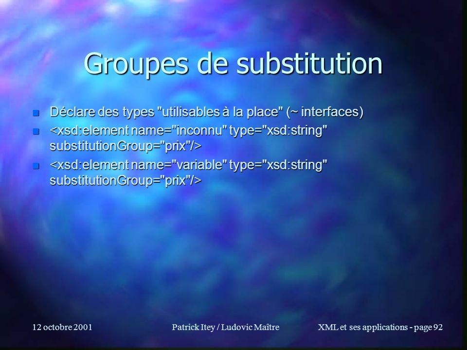 Groupes de substitution