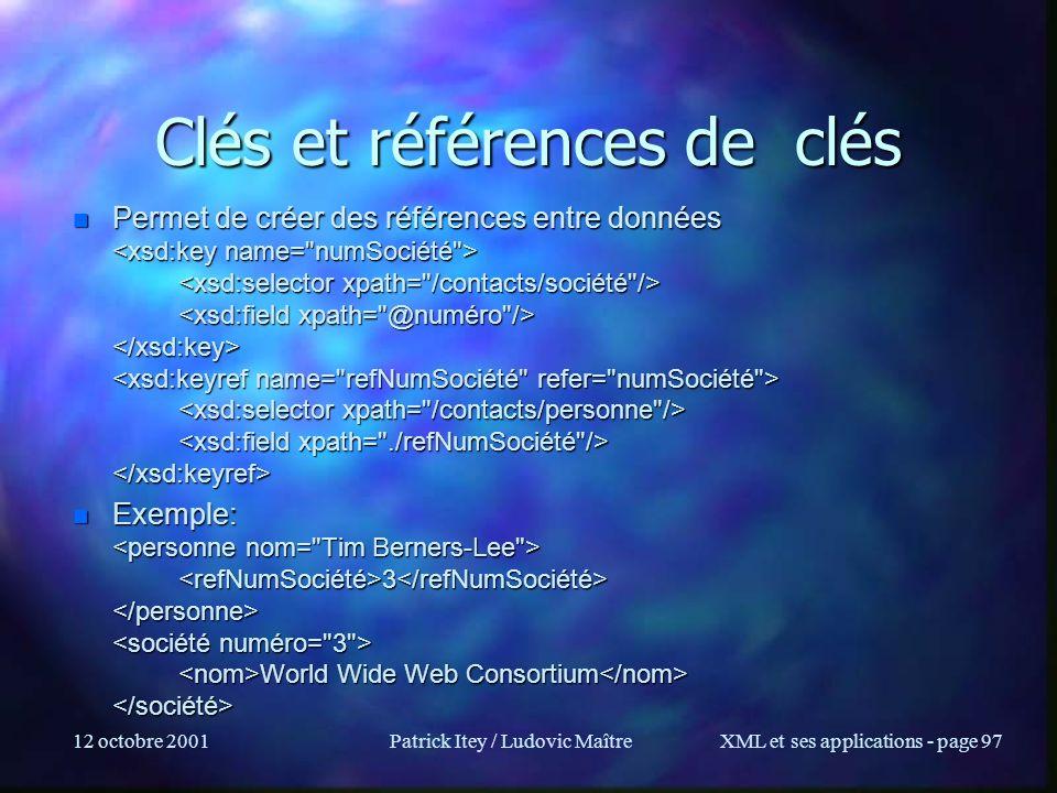 Clés et références de clés