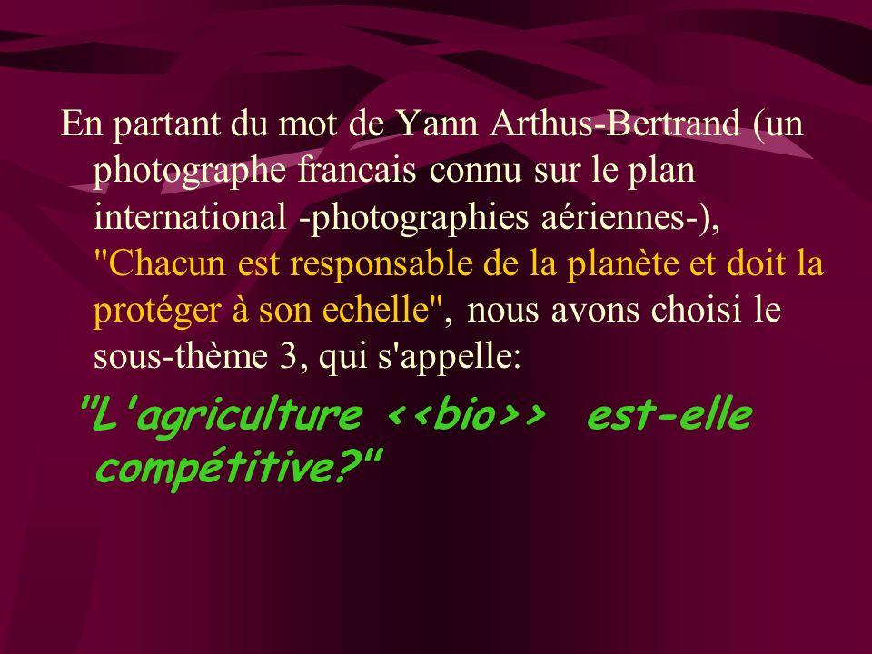 En partant du mot de Yann Arthus-Bertrand (un photographe francais connu sur le plan international -photographies aériennes-), Chacun est responsable de la planète et doit la protéger à son echelle , nous avons choisi le sous-thème 3, qui s appelle: