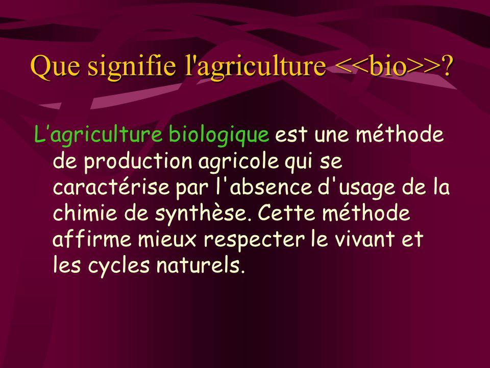 Que signifie l agriculture <<bio>>