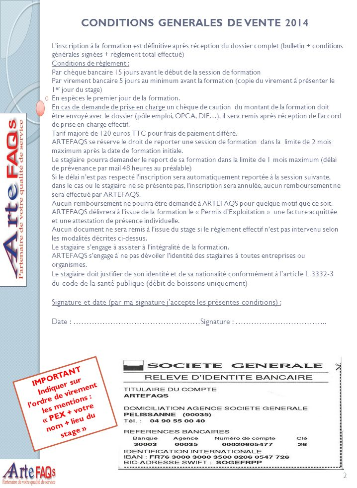 bulletin d inscription formation permis d exploitation marseille 2014 tarif 2 5 jours 375 ht. Black Bedroom Furniture Sets. Home Design Ideas
