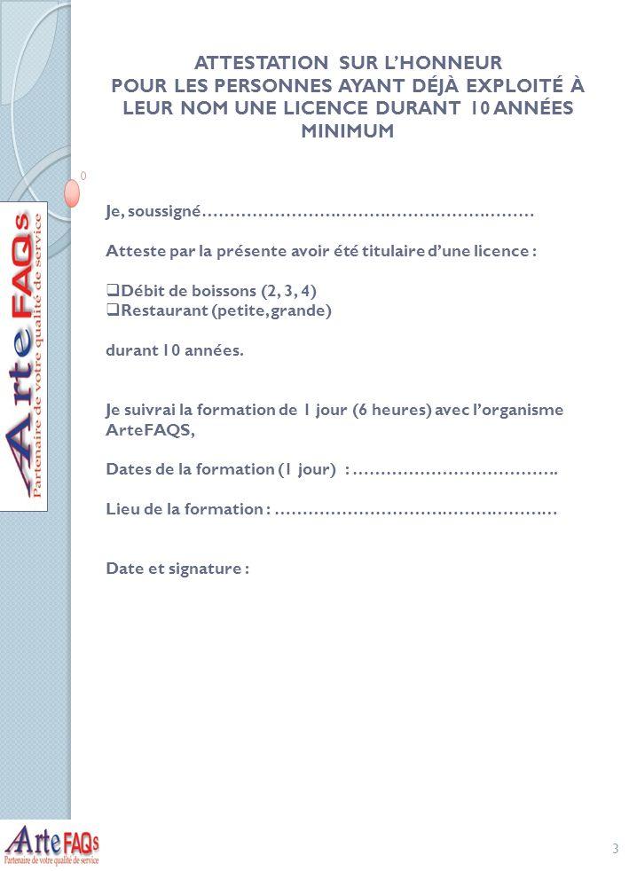 ATTESTATION SUR L'HONNEUR