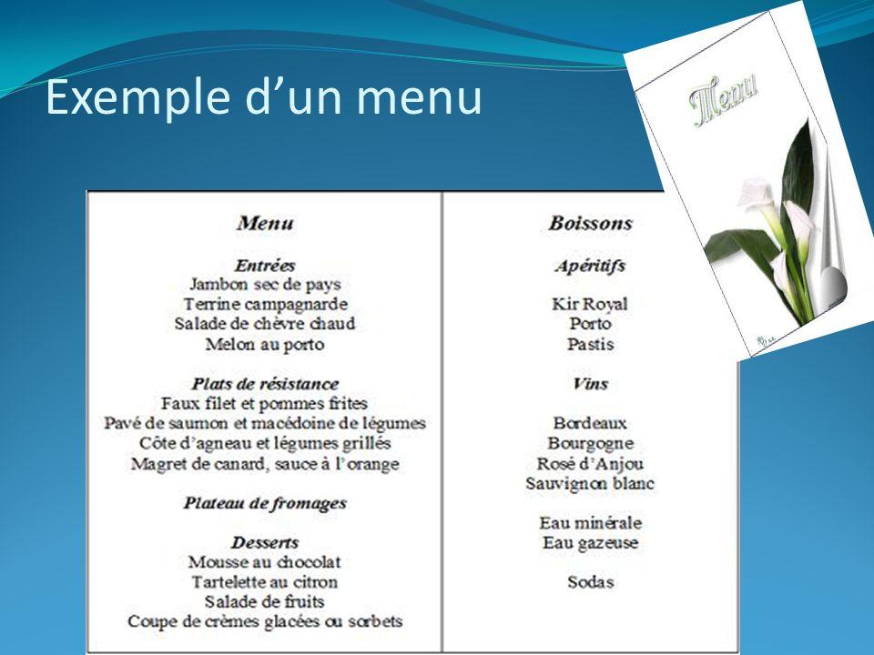 Exemple d'un menu