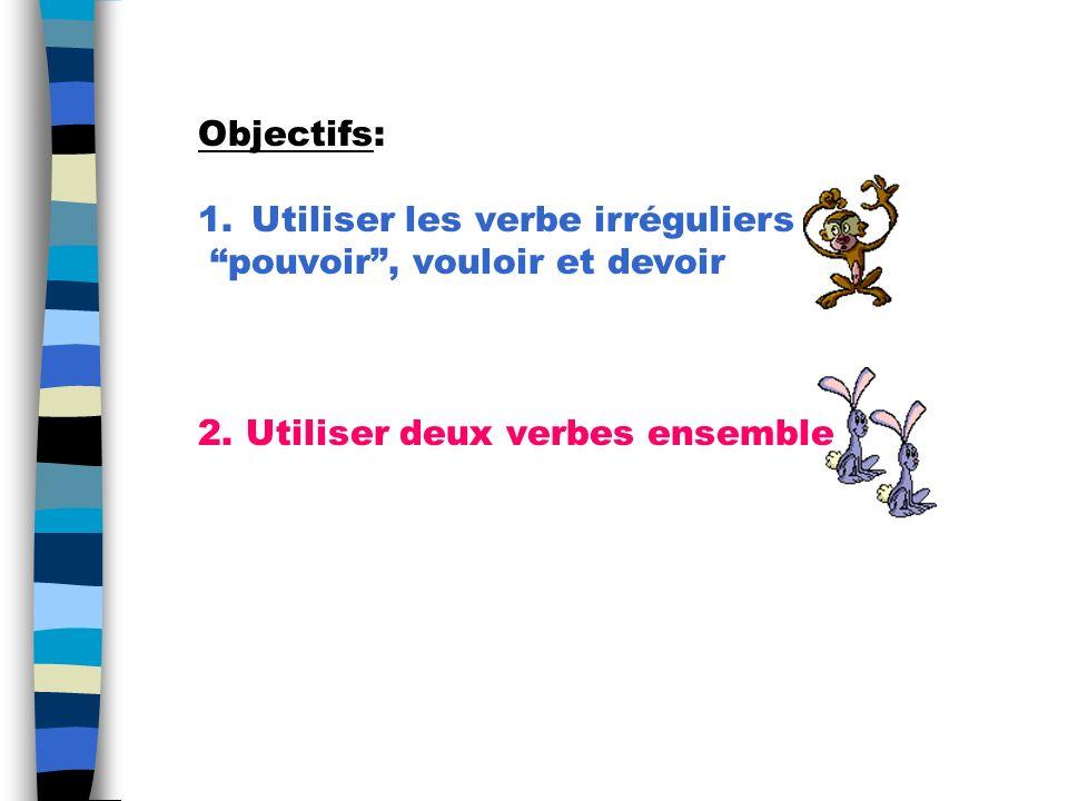 Objectifs: Utiliser les verbe irréguliers. pouvoir , vouloir et devoir.