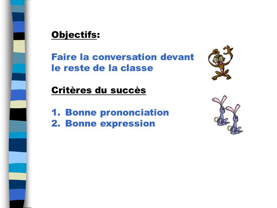 Objectifs: Faire la conversation devant. le reste de la classe. Critères du succès. Bonne prononciation.