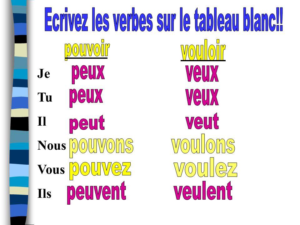 Ecrivez les verbes sur le tableau blanc!!